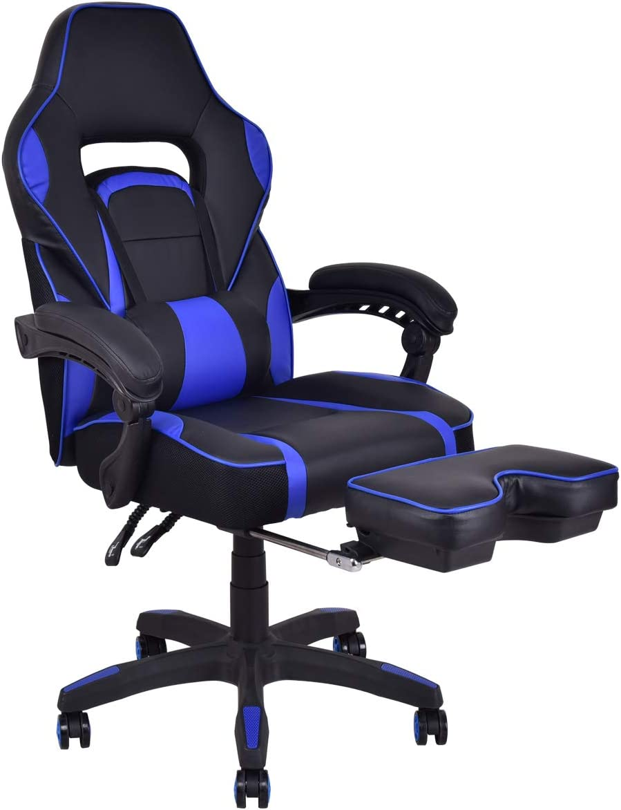 Giantex Ergonomic Gaming Chair, High-Back Racing Chair PU Leather with Retractable Footrest and Lumbar Support Adjusting Swivel Office Chair for Women Men Blue