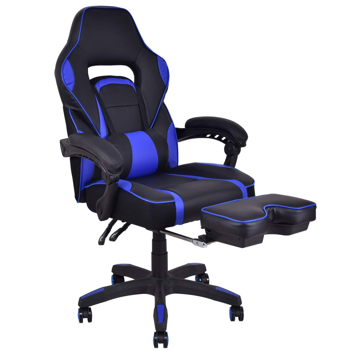 Giantex Ergonomic Gaming Chair, High-Back Racing Chair PU Leather with Retractable Footrest and Lumbar Support Adjusting Swivel Office Chair for Women & Men (Blue) by Giantex
