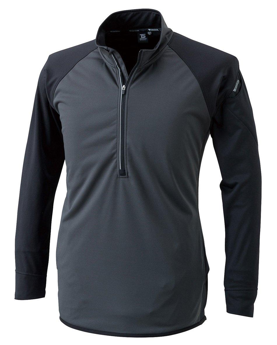 TS DESIGN ラミネートロングスリーブジップシャツ 秋冬用 4235 92 ブラックxチャコールグレー S