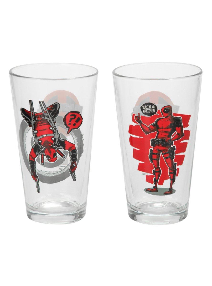 Marvel Deadpool Pint Glass Set Hot Topic 10701894
