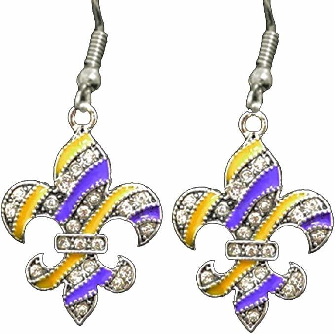 LSU Purple & Gold Fleur de Lis Earrings