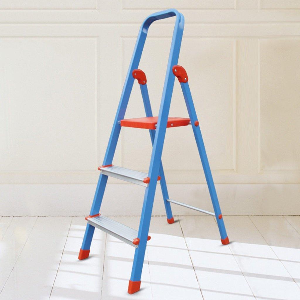 WSSF- 家庭用踏み台厚い3ステップ折りたたみ可能なアルミ合金ラダースツールアンチスリップトレッド付きヘリンボーンラダー多目的キッチン&ガーデンツールDIYカラーオプション、44 * 64 * 117.5cm (色 : #1) B07C964T1C #1 #1