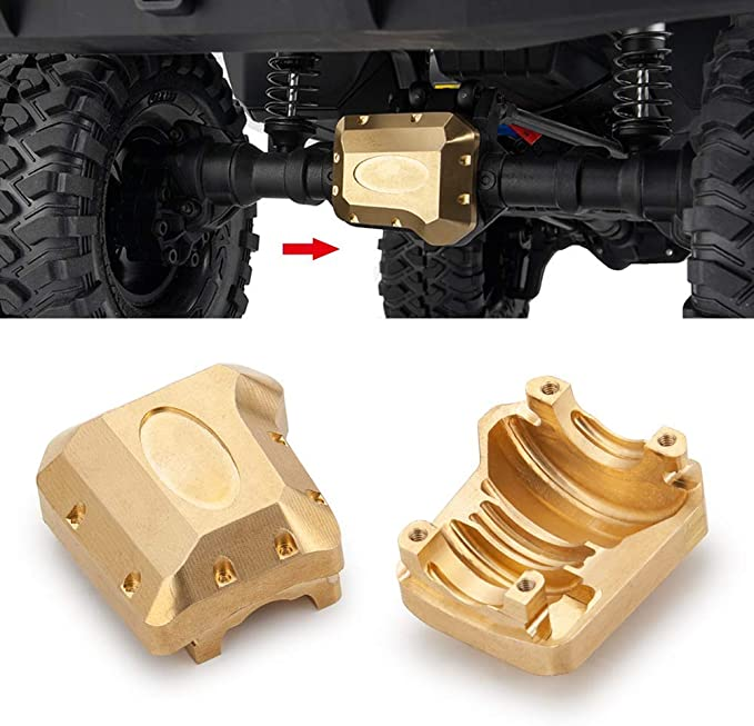 HOPLEX Brass Diff Cover Heavy Duty Differential Cover Bridge Axle Cover Upgrade Accessories for 1//24 RC Crawler Axial SCX24 90081 Parts