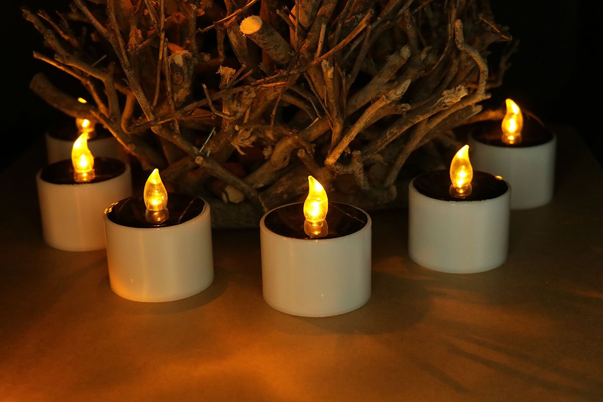 Youngerbaby Set of 6 Romantic Solar Power LED Tea Lights Candle Flameless Candles Garden Outdoor LED Tealights for Home Decoration