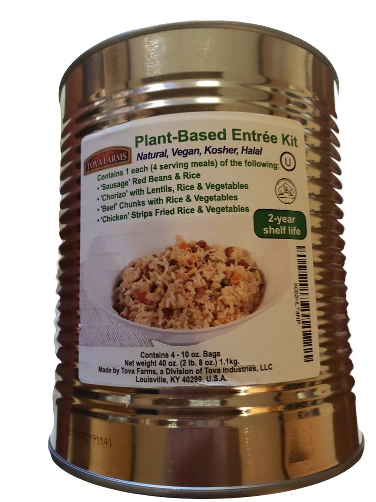 Emergency Food Supply Can of Plant Based Meal Entrees, 4 Different Meals 4 Servings Each; 40 oz