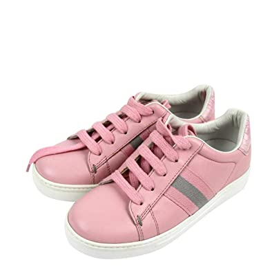 47b732bed7 Amazon.com | Gucci Kids Pink Leather Trainer Sneaker with Web 257771 ...