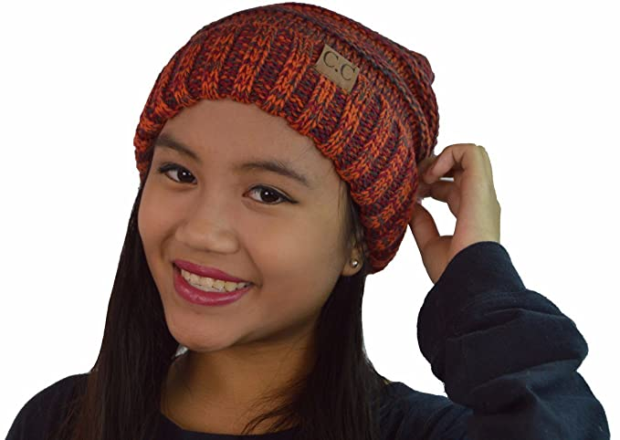 118996011b7 C.C Unisex Women's Confetti Slouchy Pom Pom Oversized Slouchy Chunky  Stretchy Knit Beanie Hat Cap (Rust Mix) at Amazon Women's Clothing store: