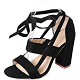 WuyiMC Women's Open Toe Pumps Chunky Block Heeled Sandals Ankle Strap High Heels