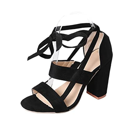 bf8cf5e733d WuyiMC Women s Open Toe Pumps Chunky Block Heeled Sandals Ankle Strap High  Heels (Black