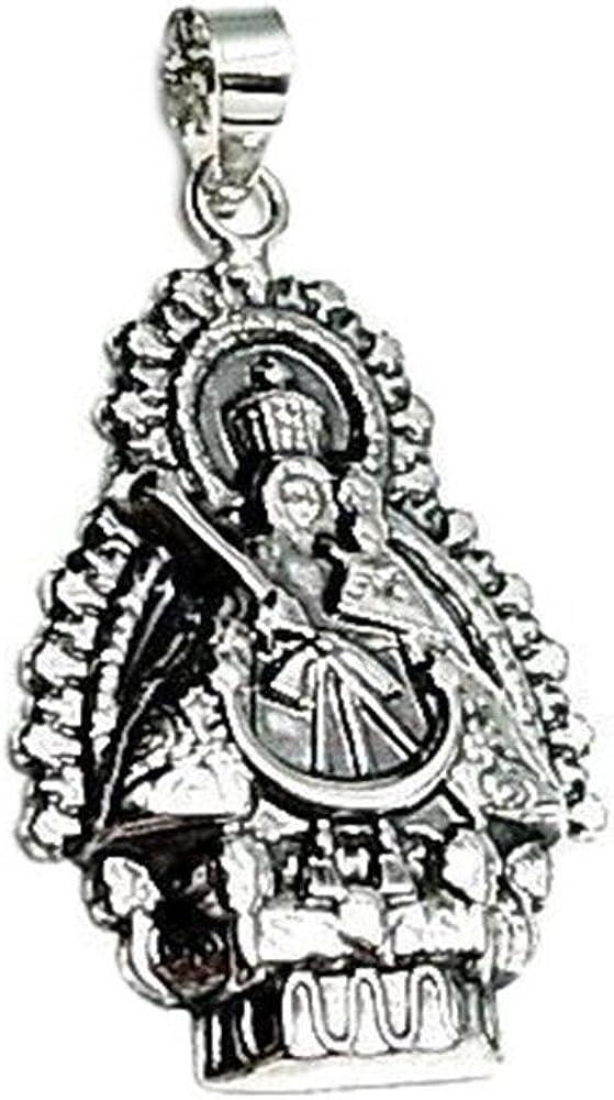 Colgante Plata Ley 925M Virgen De La Cabeza 30mm. Troquel Tallado Reasa Lisa