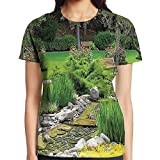WuLion Japanese Park Style Recreational View with Pond Grass Stones and Trees Landscape Women's 3D Print T Shirt S White