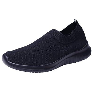 b9a9e6475947b TIOSEBON Men s Walking Shoes Lightweight Mesh Slip-on- Breathable Running  Sneakers 7 US All