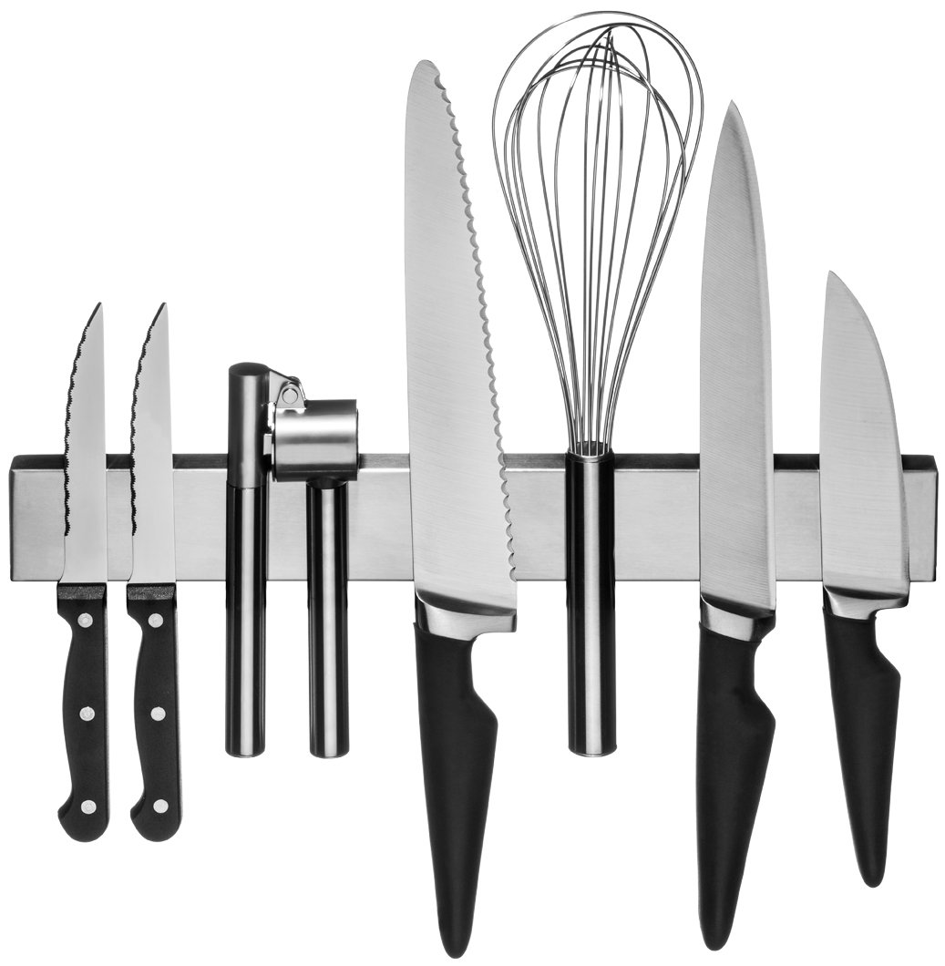 Stainless Steel Magnetic Knife Strip: Strong 10 Inch + 14 Inch Combo Set Kitchen Knives Holder & Garage Organizer Bar Mount Magnet - Powerful Flush Mounted Space Saver & Holder For Cutlery & Utensils