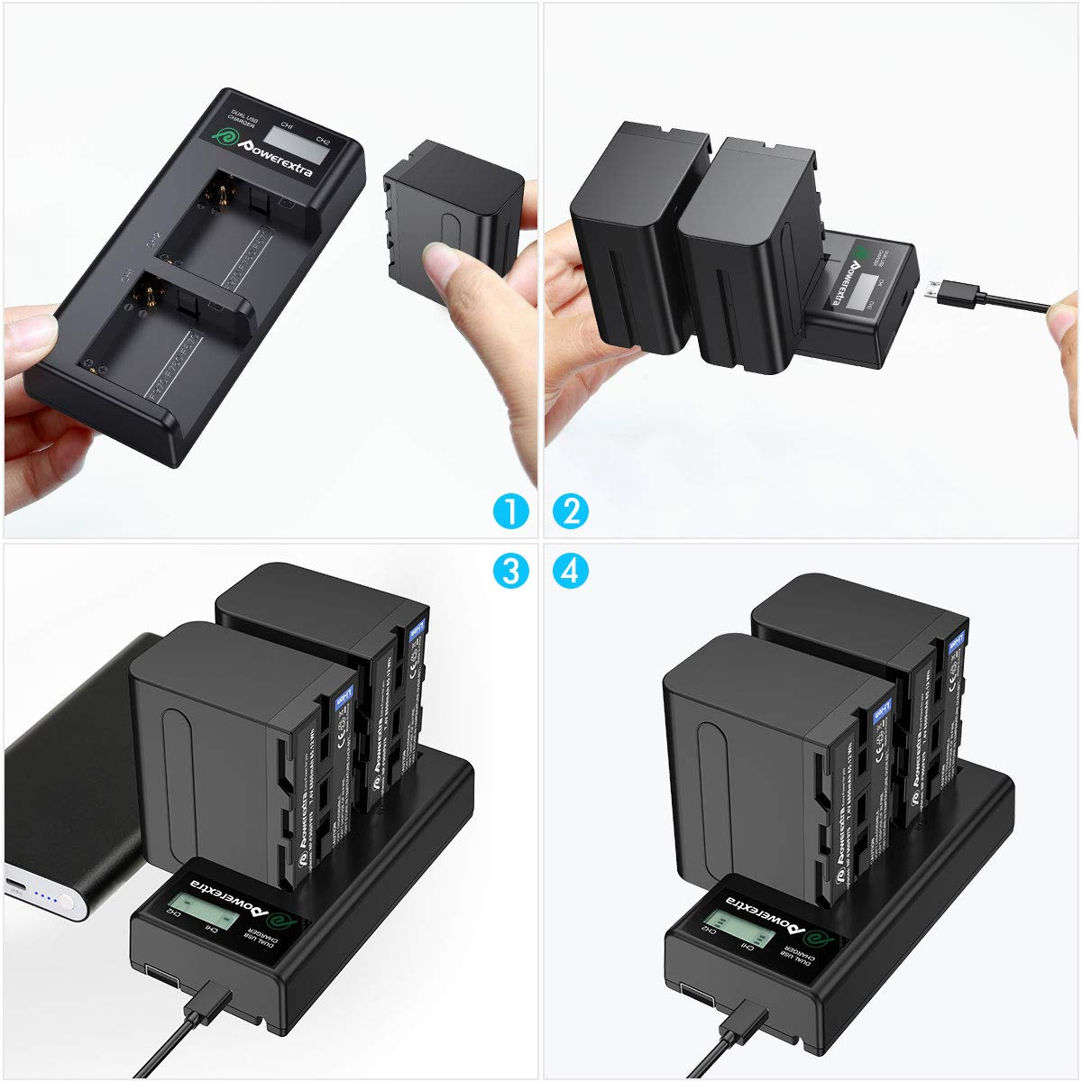 Powerextra 2 Pack Replacement Sony NP-F970 Battery and Smart LCD Display Dual USB Charger for Sony NP-F930 NP-F950 NP-F960 Battery and Sony CCD-SC55, TR516, TR716, TR818, TR910, TR917 by Powerextra (Image #4)
