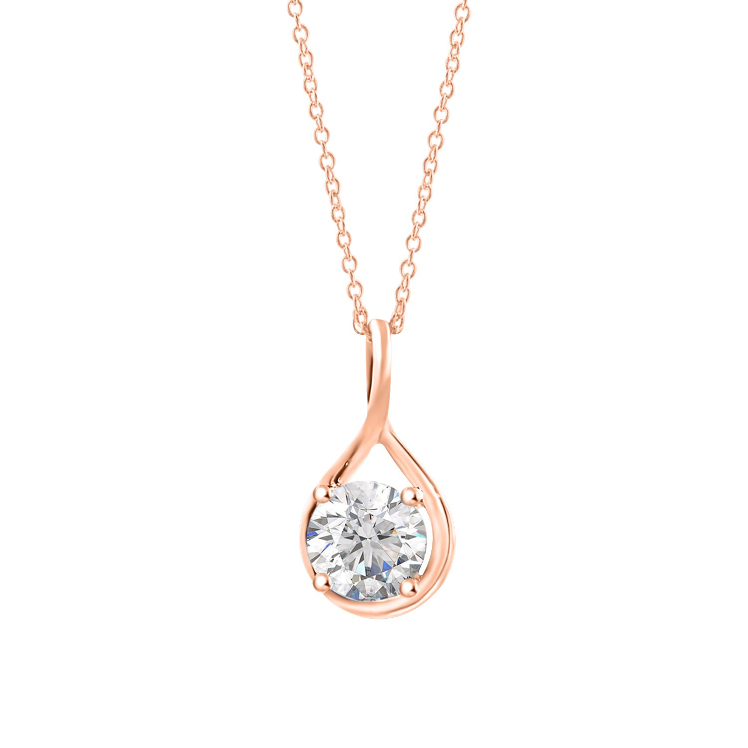 18 inch Diamond Scotch 0.80 Ct Round White Cubic Zirconia Solitaire Pendant Necklace in 14k White Gold Over