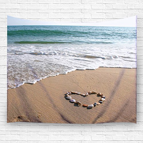 "Ocean Wall Tapestry by Goodbath, Heart Shaped Seashell on Tropcial Paradise Beach Wall Hangings Tapestries for Living Room Bedroom Dorm , 60"" x 51\"", White Blue Green"