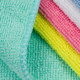 Kleenist SuperAbsorb Microfiber Cloths - Best Microfiber Cleaning Cloth Pack of 50 (30cm x 30cm). Comes with 5 Vibrant Colors for Dust-free, Lint-free, Streak-free and Chemical-free Cleaning