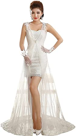 Shanghai Story Womens Halter Sequined Lace Gown Ball Long Wedding Dress