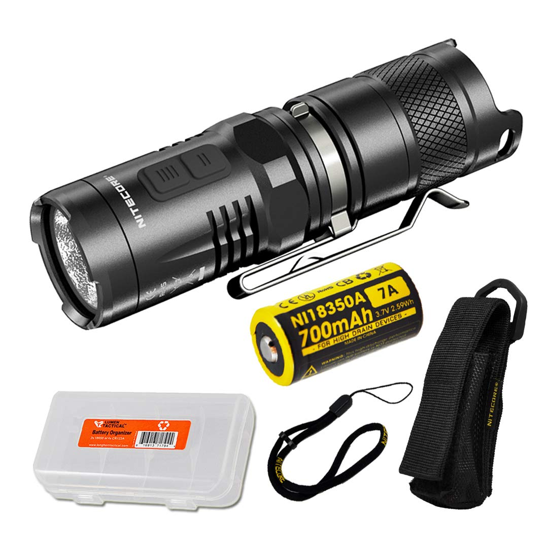 Nitecore MT10C 920 Lumen Multitask Tactical Flashlight Red Light, Rechargeable Battery LumenTac Battery Organizer