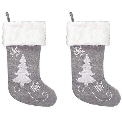 Gray Christmas Stockings.Amazon Com New Traditions 2 Pack 20 Inch Christmas