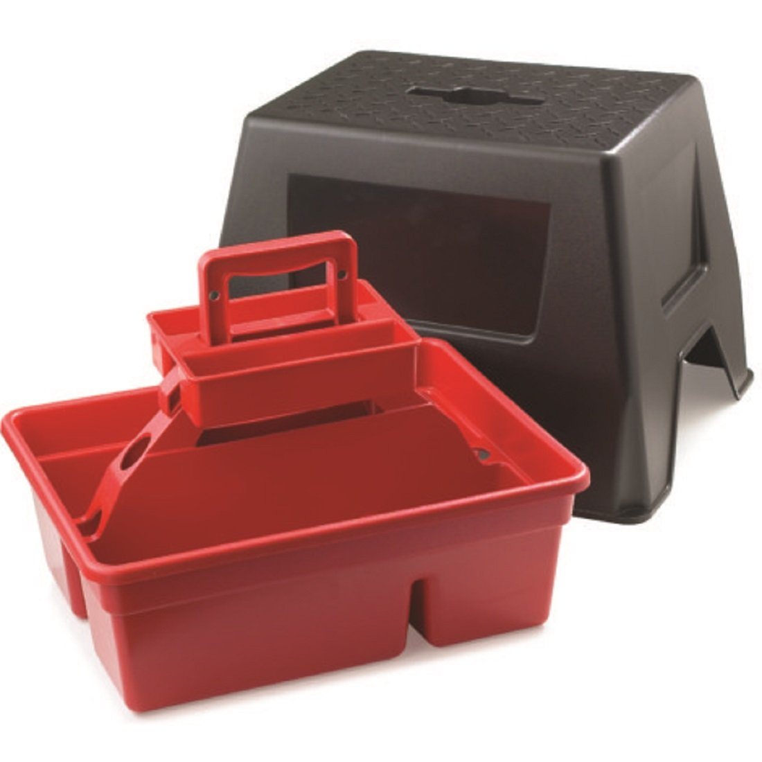 Duratote LITTLE GIANT 2-Step Anti-Slip Black Step Stool with Tool Box - 300 LB. Load Capacity - 18'' L x 16'' W x 15'' H - Made from lightweight and non-toxic material