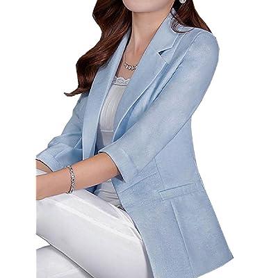 Winwinus Womens Linen Cotton Short Basic Cotton 3/4 Sleeve Small Blazer