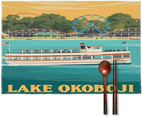 Novelty Placemat With American Vintage Travel Poster Lake Okoboji Iowa Print Custom Placemats Kitchen Table Mats Coffee Tray Place Mats For Dining Table Set Of 4 12 X 18 Inch Home