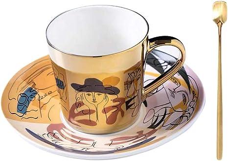 Ybk Tech Creative Handmade Mirrored Cup And Decorative Saucer Ceramic Mirror Cups Beauty On Plate Amazon De Kuche Haushalt