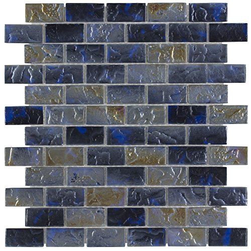 MTO0089 | Classic Mini Brick Blue & Grey Frosted Glossy Glass Mosaic Tile