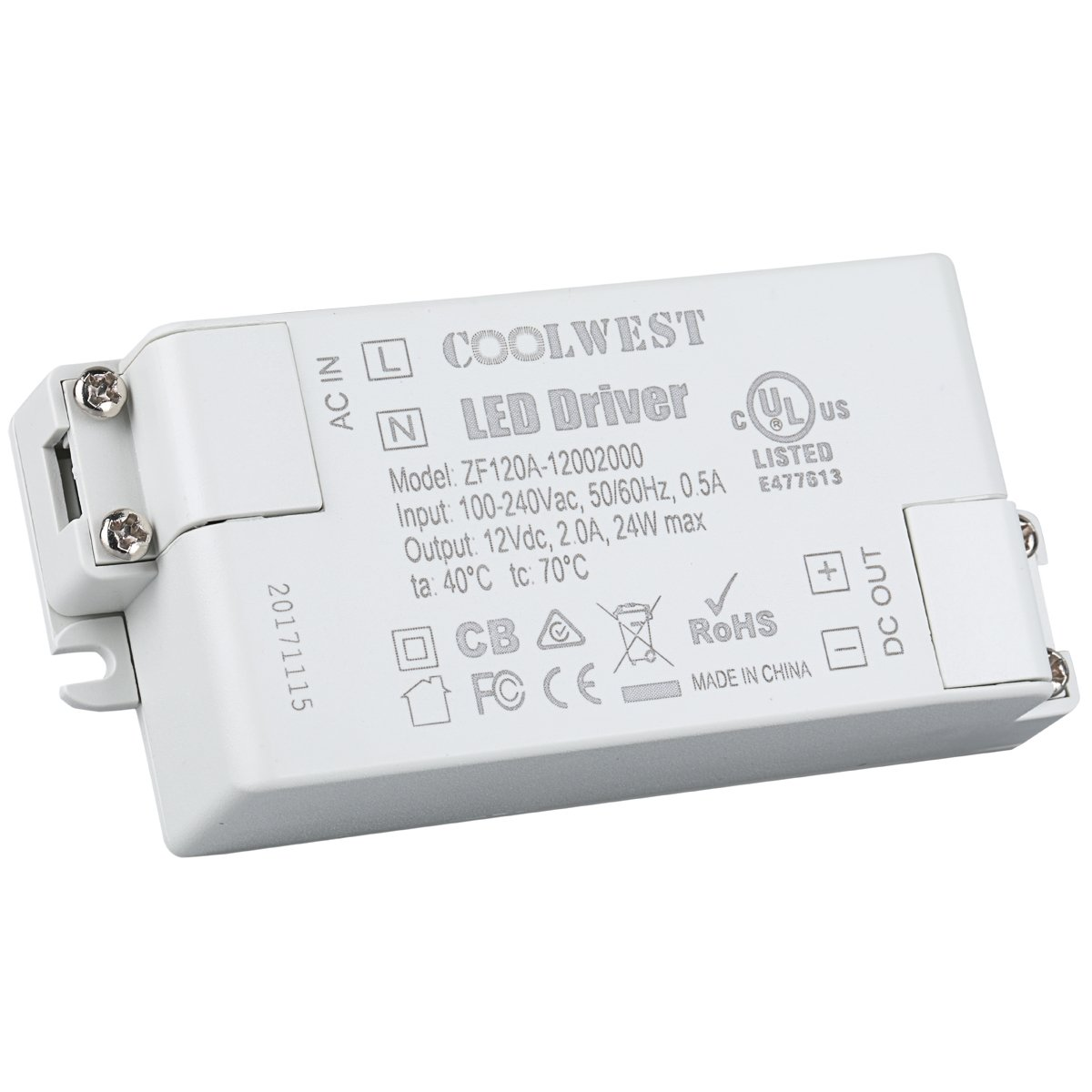 COOLWEST 24W 12V Power Supply Driver Transformer for LED Flexible Strip Light and G4, MR16 Light Bulbs