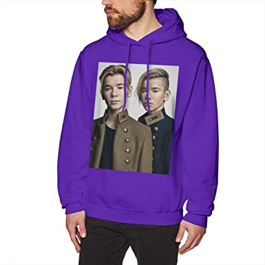 WEEKEND SHOP Marcus and Martinus Hoodie Pullover Hoodie Cotton Male Long Length XXL Hoodies Purple