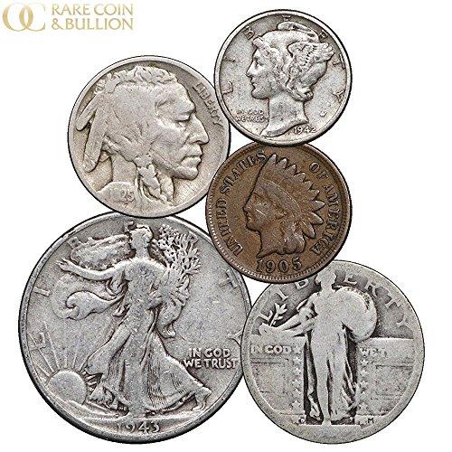 Half Cent Coin - 1900-1947 US 5 Coin Lot - Indian, Buffalo, Mercury, Standing & Walking Liberty 1 Cent - Half Dollar