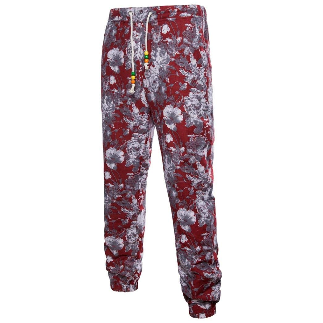 Realdo Clearance Mens Fashion Floral Print Trousers Sweatpants Elastic Waist Creative Comfy Pants(XXXX-Large,Red)
