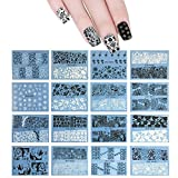 ALLYDREW 48 Sheets Black & White Vines, Flowers & Henna Nail Art Water Slide Nail Decals Water Transfer Nail Decal Sheets