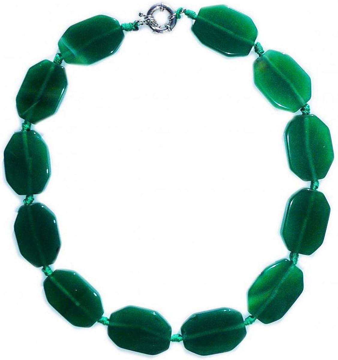 Collar de 45 cm de el jade verde oscuro