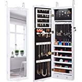 LANGRIA 10 LEDs Wall Door Mounted Jewelry Cabinet Lockable Jewelry Armoire Storage Organizer for Accessories, Carved…