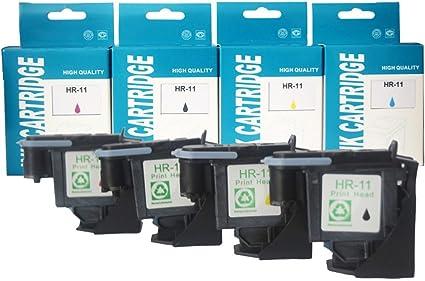 Remanufacturado HP 11 Cabezal de impresión 4 paquetes (1 Negro, 1 Cian, 1 Magenta, 1 Amarillo) por cartucho de elección: Amazon.es: Oficina y papelería