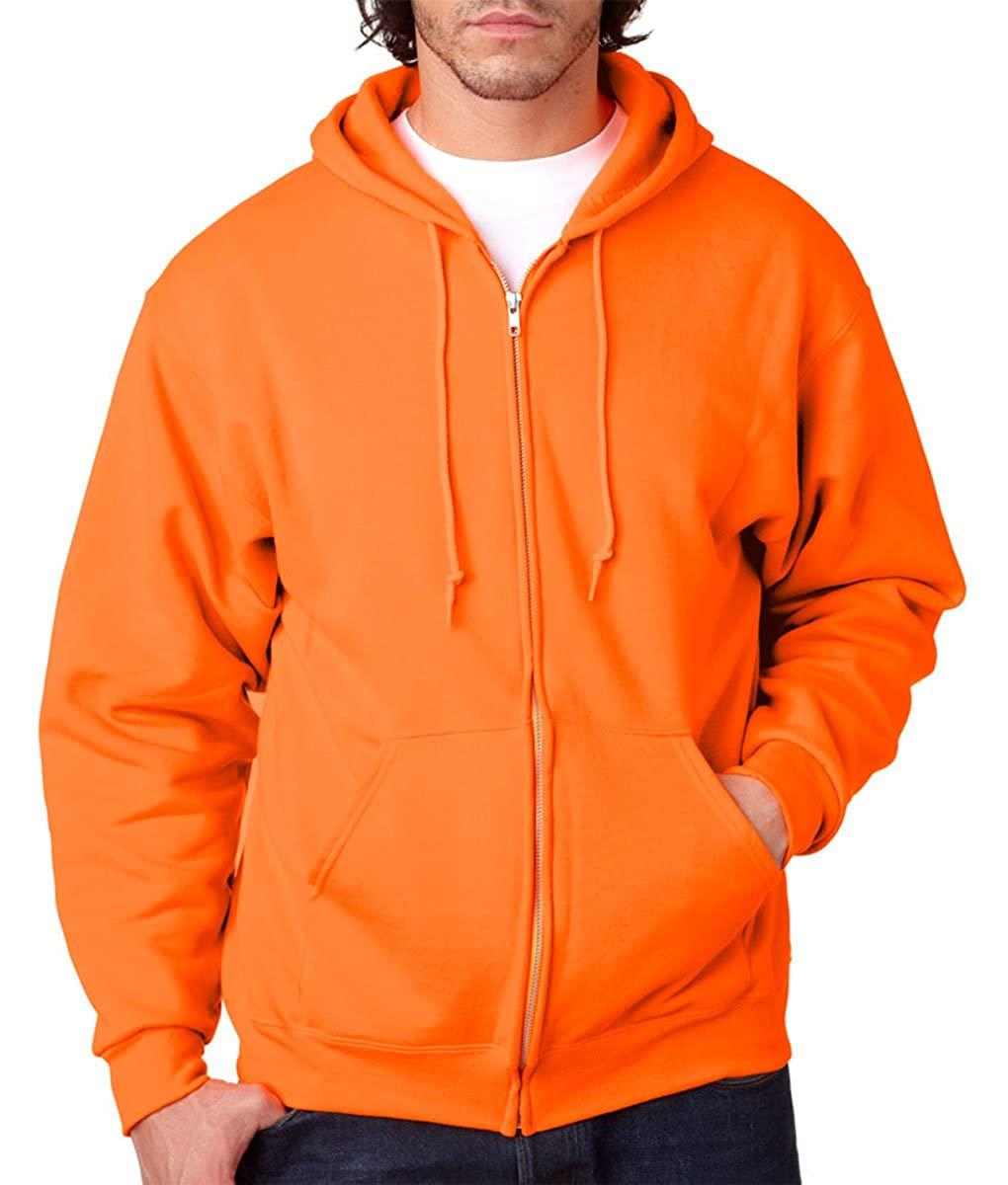 993 - Safety Orange,Medium Jerzees 8 Oz. 50//50 Nublend Fleece Full-Zip Hood
