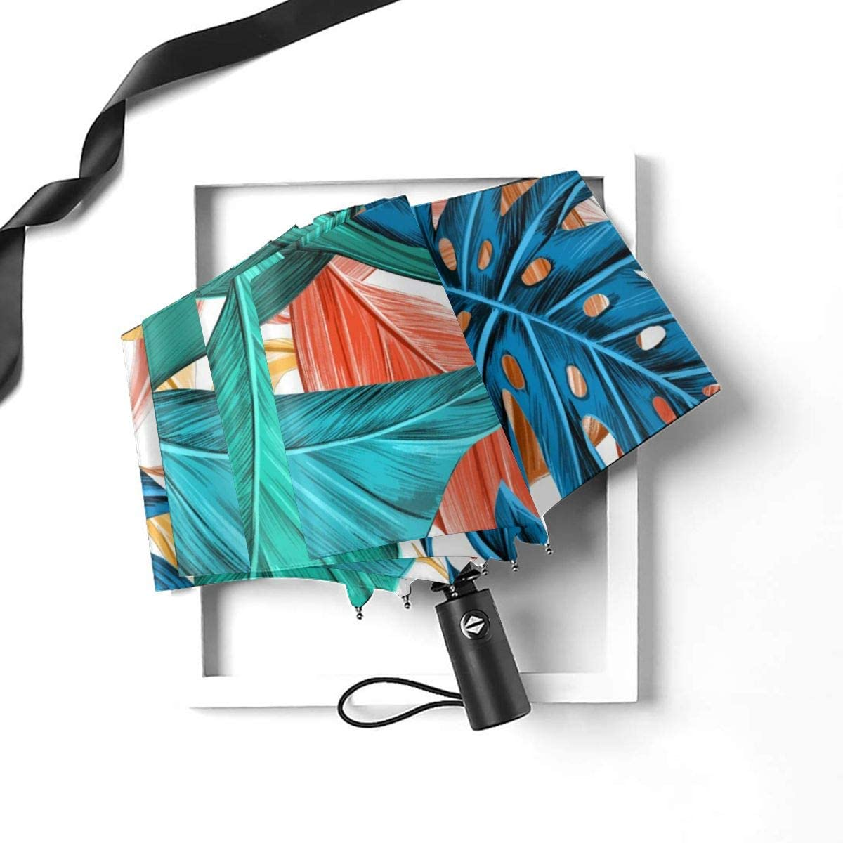 Leaf Tropical Summer Palm Tree Texture Compact Travel Umbrella Windproof Reinforced Canopy 8 Ribs Umbrella Auto Open And Close Button Personalized