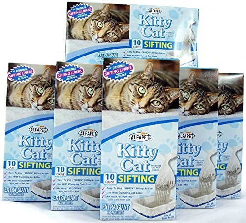 Kitty Cat Sifting Litter Box Liners- 10 Per Box Plus 1 Transfer Liner Per Box- Size 40in X 38in (6 Pack/boxes)