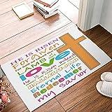 hiusan Happy Easter Doormat, Christian Subway Art Door Mats Inside Funny Front Door Mat Entrance Mat Non Slip Washable Bath Mat Bathroom Rugs Floor Carpet 40x60 cm