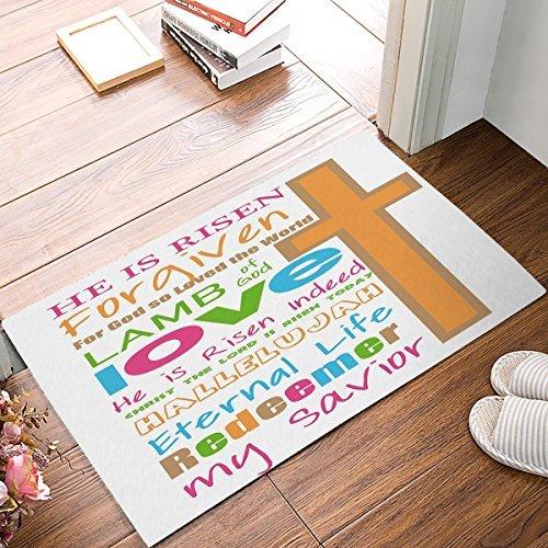 hiusan Happy Easter Doormat, Christian Subway Art Door Mats Inside Funny Front Door Mat Entrance Mat Non Slip Washable Bath Mat Bathroom Rugs Floor Carpet 40x60 cm by hiusan