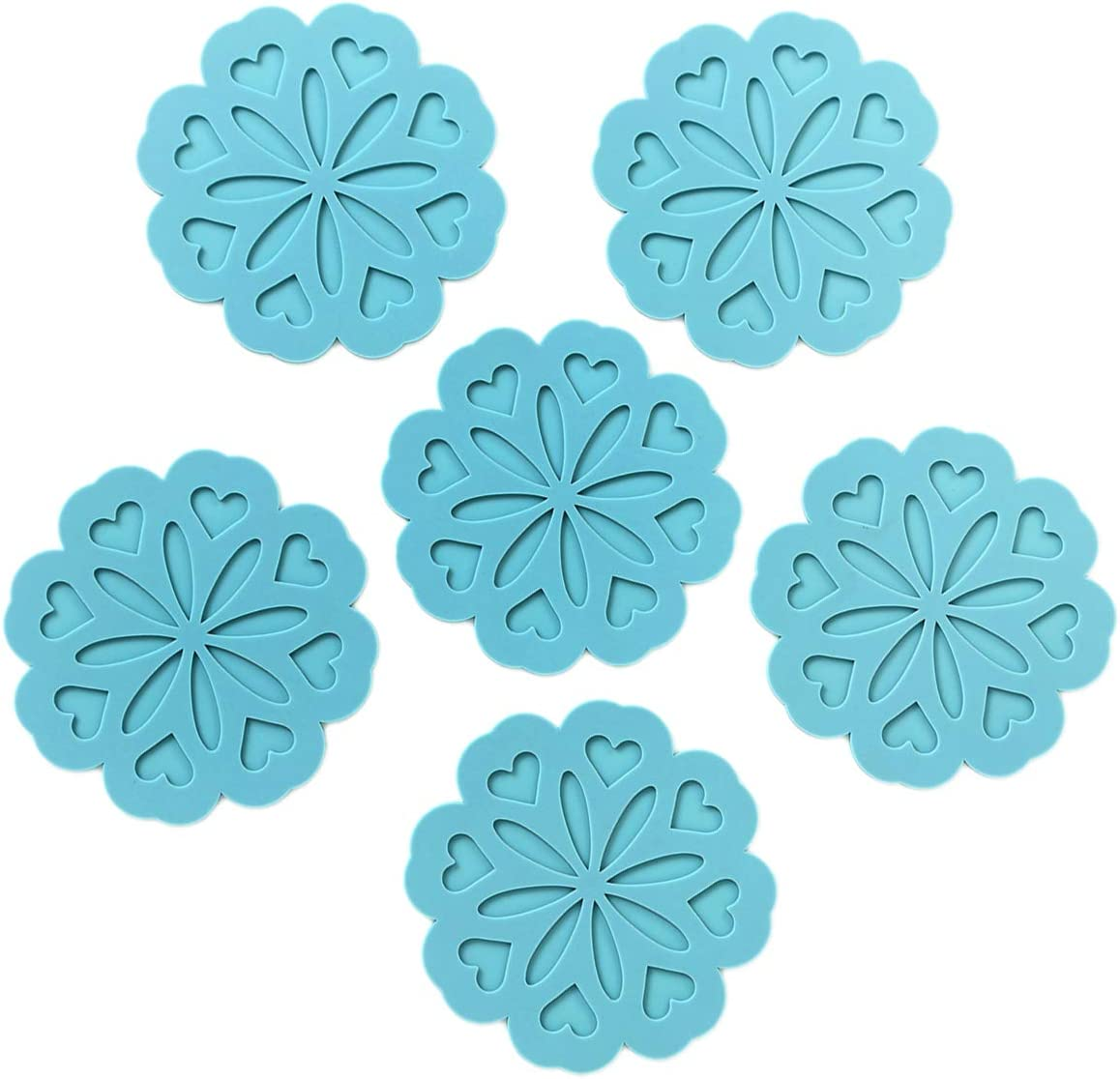Set of 6 Silicone Trivet Mat - Hot Pot Holder Hot Pads for Table & Countertop - Trivet for Hot Dishes - Non-Slip & Heat Resistant Modern Kitchen Hot Pads for Pots & Pans, Turquoise