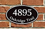 "Custom Home Address Sign, Personalized House Number Sign, 12"" x 7"" Aluminum Oval, Variety Of Colors To Choose From (Black)"