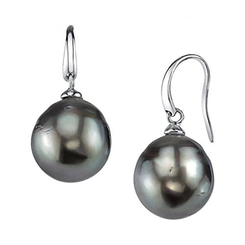 caed296fbc2ce THE PEARL SOURCE 8-9mm Genuine Baroque Black Tahitian South Sea Cultured  Pearl Rosalind Earrings for Women