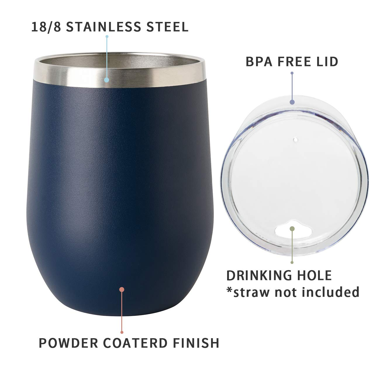 ONEB Stainless Steel Wine Tumbler with Lid, 12 OZ | Double Wall Vacuum Insulated Travel Tumbler Cup for Coffee, Wine, Cocktails, Ice Cream Cup With Lid (Navy, 12OZ-8pack) by ONEB (Image #3)