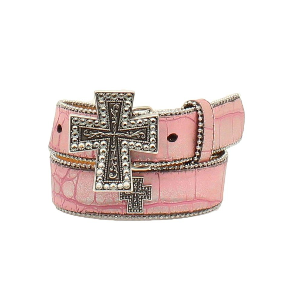 Nocona Girl's Fuax Croc Finely Detailed Cross Buckle Belt, Pink, 30