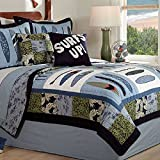 3 Piece Fun Coastal Surfboards Design Reversible Quilt Set Full/Queen Size, Geometric Garden Flowers Leafs Borders Bedding, Beach Shoreline Waves Motif, Whimsical Nature Patchwork Style, Blue, Green