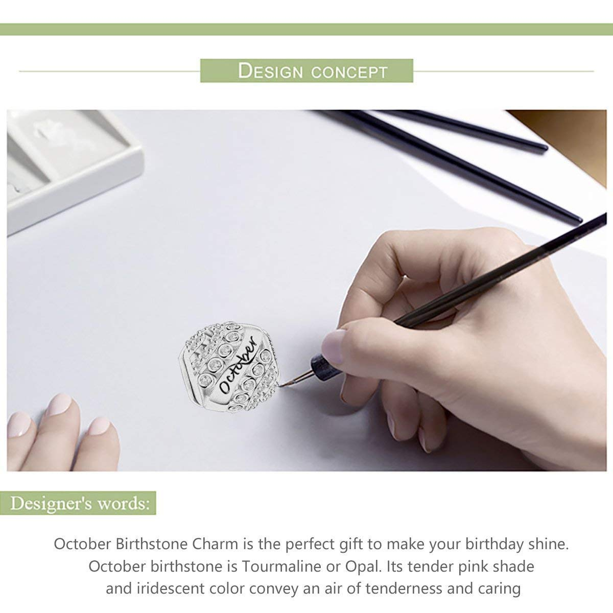 925 Sterling Silver Bead Charms Happy Birthday 12 Colors Jan-Dec Openwork Charms for Bracelet and Necklace Forever Queen Birthstone Charms fit Charms Bracelet
