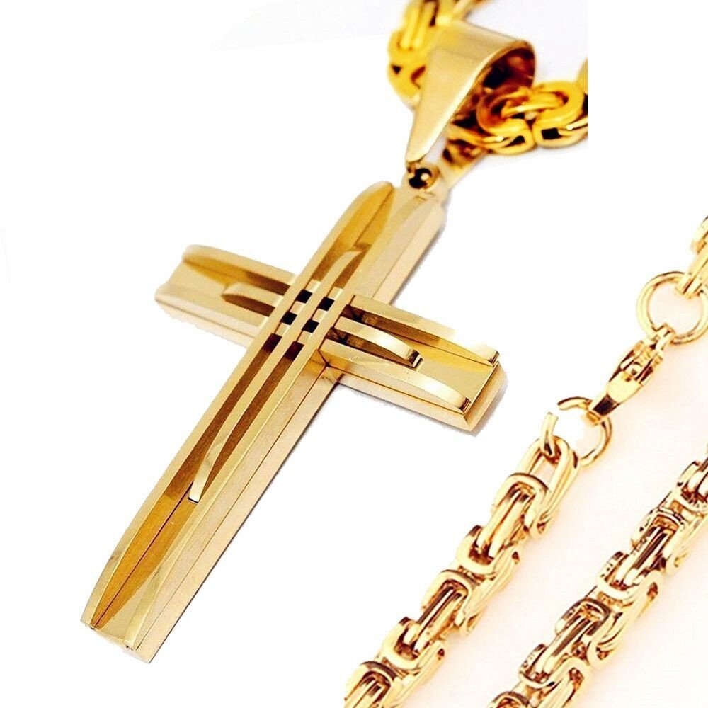 Men Chain Gold Cross Jesus Byzantine Stainless Steel Pendant Necklace HOT Gift